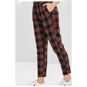 NET! Red Black Plaid Tartan Pants